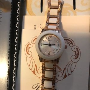 Brighton rose gold & white watch